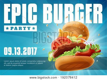 Epic Burger Party - poster flyer template EPS10