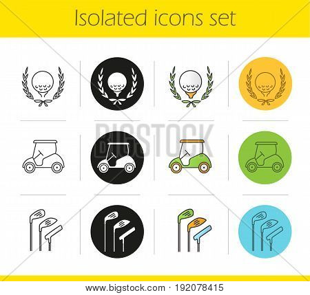 Golf championship icons set. Linear, black and color styles. Ball in laurel wreath, clubs, cart. Isolated vector illustrations