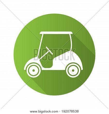 Golf cart flat design long shadow icon. Vector silhouette symbol