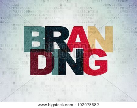 Marketing concept: Painted multicolor text Branding on Digital Data Paper background