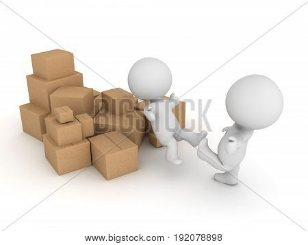 3D Character Kicked Into A Pile Of Cardboard Boxes