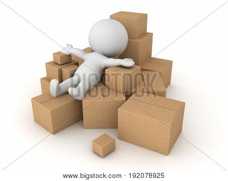 3D Character thrown into a pile of different boxes. Isolated on white.