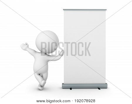 3D Character Leaning On Roll Up Banner