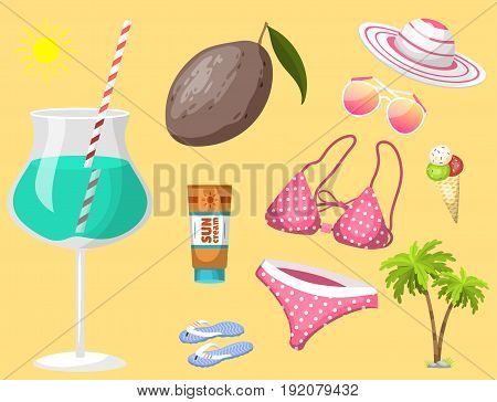 Summer time beach sea shore realistic accessory vector illustration. Sunshine travel hot season decoration holiday vacation beautiful graphic paradise concept.