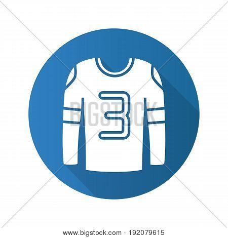 Hockey player's shirt. Flat design long shadow icon. Vector silhouette symbol