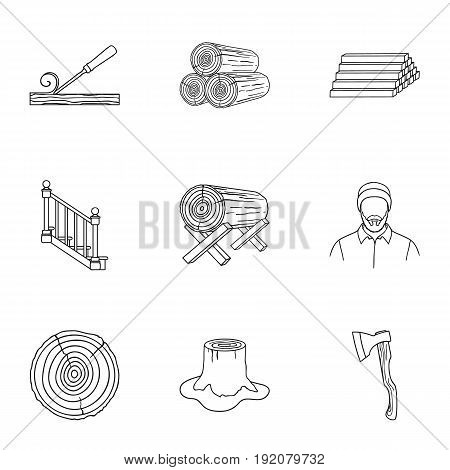 Sawmil and timber set icons in outline style. Big collection of sawmill and timber vector symbol stock