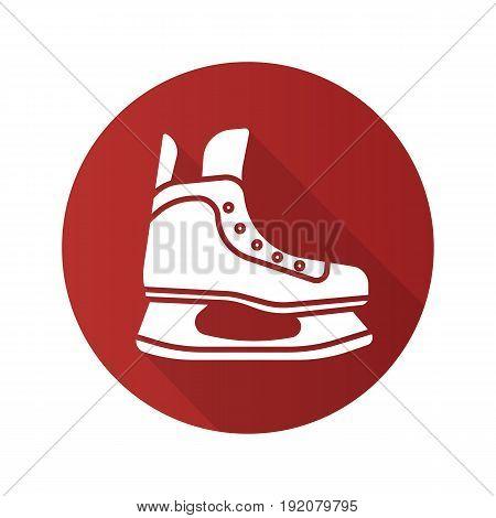 Ice skate flat design long shadow icon. Hockey skate. Vector silhouette symbol