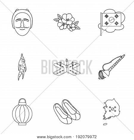 South Korea set icons in outline style. Big collection of South Korea vector symbol stock