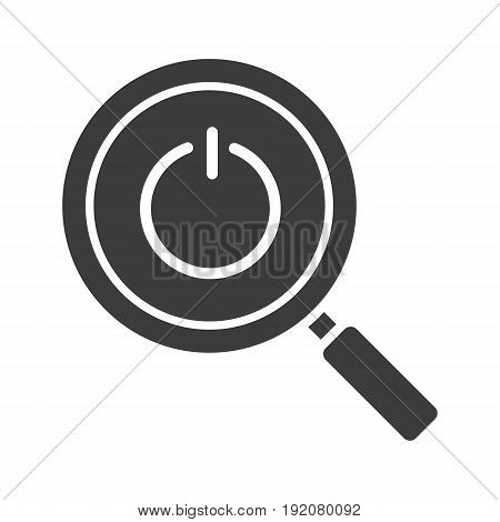 Magnifying glass with turn off button glyph icon. Silhouette symbol. Search. Negative space. Vector isolated illustration
