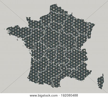 France Map With Stars And Ornaments Including Borders
