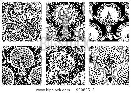 Set Of Seamless Patterns, Vector Hand Drawn Repeating Illustration, Decorative Ornamental Stylized E