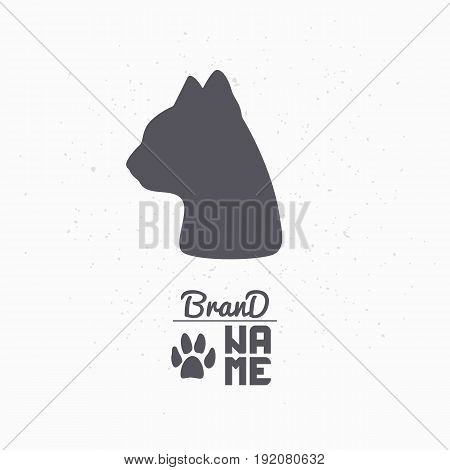Hand drawn silhouette of cat head. Pet food logo template for craft packaging or brand identity. Vector illustration