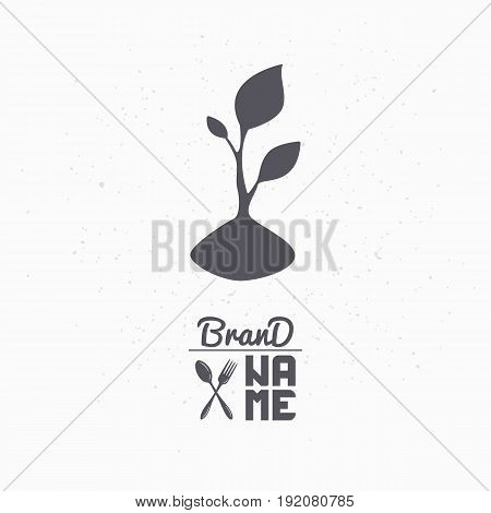 Hand drawn silhouette of sprout. Eco food logo template for craft packaging or brand identity. Vector illustration