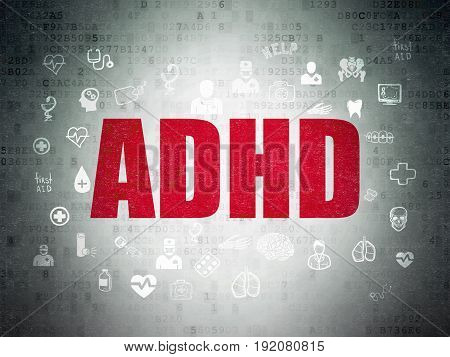 Health concept: Painted red text ADHD on Digital Data Paper background with  Hand Drawn Medicine Icons