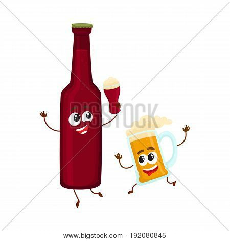 Funny beer bottle and mug characters having fun, drinking, holding glasses, cartoon vector illustration isolated on white background. Funny beer bottle and mug characters with smiling human faces