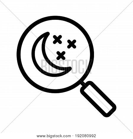 Place to sleep search linear icon. Thin line illustration. Magnifying glass with moon and stars contour symbol. Vector isolated outline drawing
