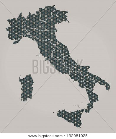 Italy Map With Stars And Ornaments Including Borders
