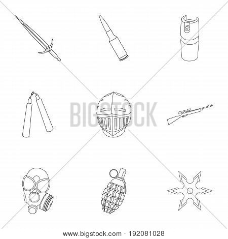 Weapon set icons in outline style. Big collection of weapon vector symbol stock