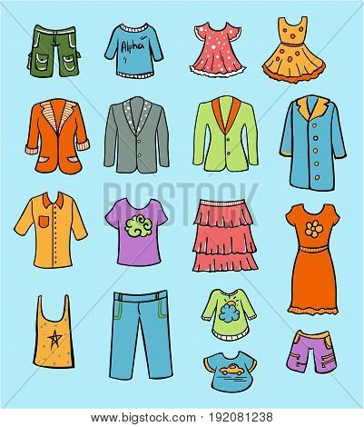Doodle colored family clothing set with shorts dresses jeans shirts skirt jackets on blue background isolated vector illustration