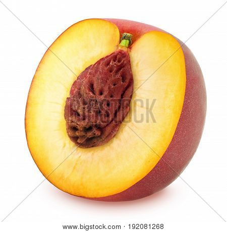 Half of Ripe Nectarine Isolated on White Background in Full Depth of Field with Clipping Path.
