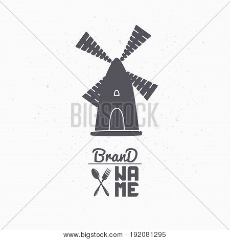 Hand drawn silhouette of wind mill. Logo template for craft food packaging or brand identity. Vector illustration
