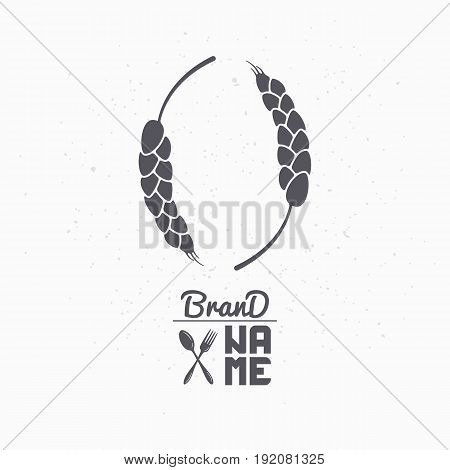 Hand drawn silhouette of wheat stalks. Logo template for craft food packaging or brand identity. Vector illustration
