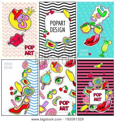 Comic colorful fashion patches brochures with pop pins and badges for girl vector illustration