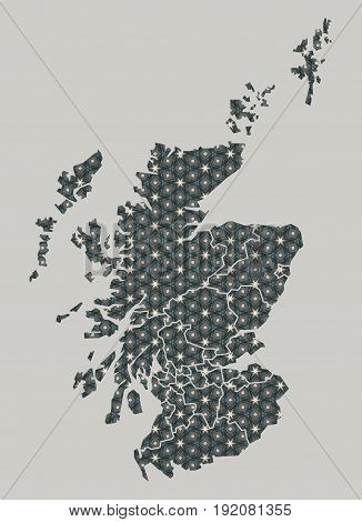 Scotland Map With Stars And Ornaments Including Borders