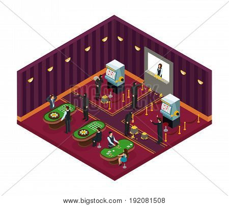 Isometric casino robbery concept with bandits in masks robbing visitors and workers in gaming room vector illustration