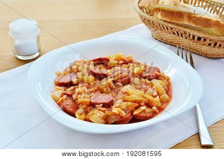 Vegetable stew Hungarian lecso with sausage and rice