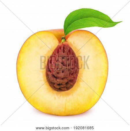 Half of Ripe Nectarine Isolated on White Background. Front view.