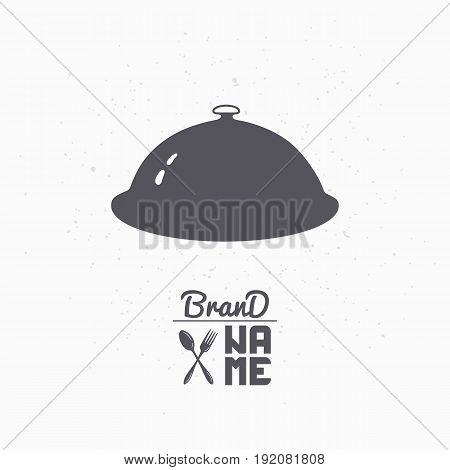 Hand drawn silhouette of cloche. Restaurant logo template for craft food packaging, menu or brand identity. Vector illustration