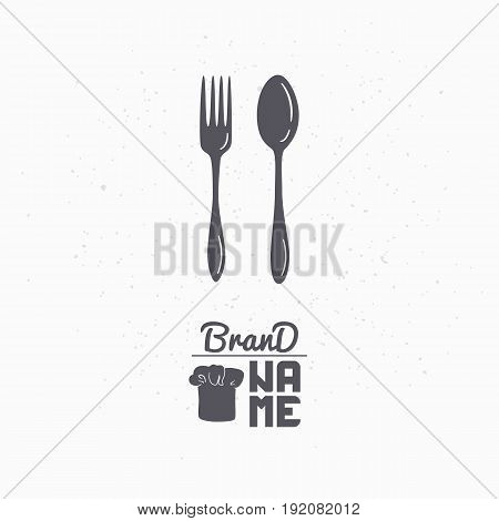 Hand drawn silhouette of spoon and fork. Restaurant logo template for craft food packaging, menu or brand identity. Vector illustration