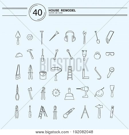 Vector line style icons of repair tools for house remodeling