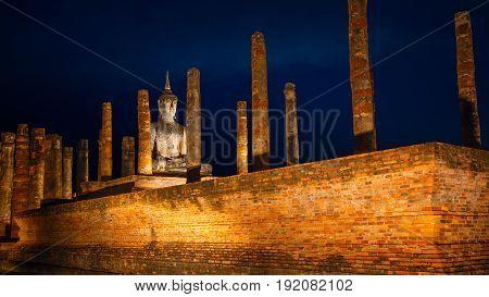Sukhothai, Thailand - January 18 2017: Wat Mahathat Temple In The Precinct Of Sukhothai Historical P