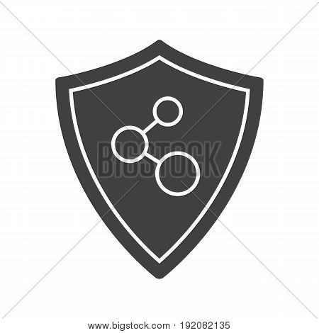 Network connection security glyph icon. Silhouette symbol. Protection shield. Negative space. Vector isolated illustration