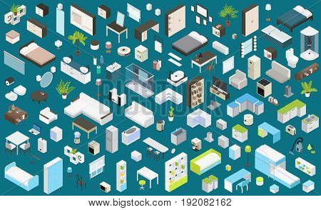Isometric interior elements set with furniture appliances items of bedroom bathroom kitchen home office living rooms isolated vector illustration