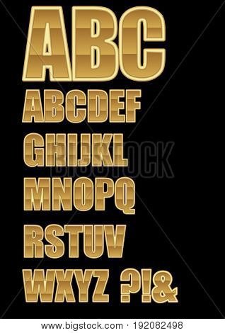 Decorative alphabet in golden design with horizontal lamination question mark and exclamation mark included