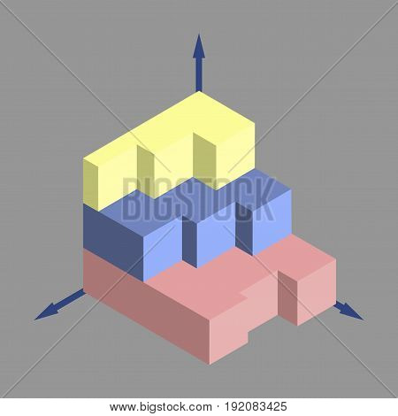 flat icon on stylish background 3d chart