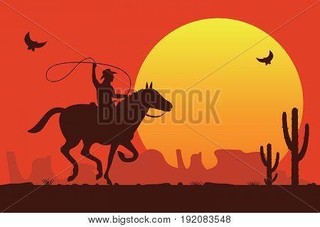 Cowboy riding a wild horse. Vector illustration