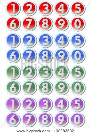 Set of artistic number buttons with frames in metallic silver design in four color variants - red blue green purple gradient effect. To use in infographic templates presentation web