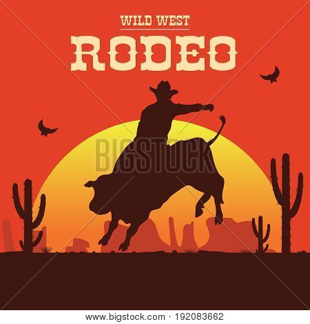 Rodeo cowboy riding a wild bull silhouette