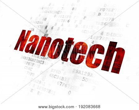 Science concept: Pixelated red text Nanotech on Digital background