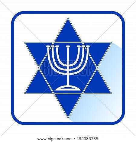 David star with seven-branched candlestick menorah in modern flat design with long shadow israel nation colors blue and white