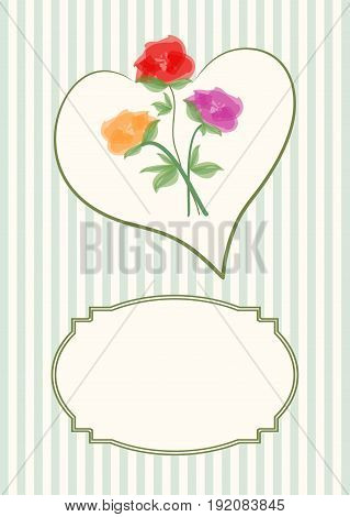 Greeting card template with beautiful bouquet of roses in heart shape on soft stripped background with a vintage frame for text message.