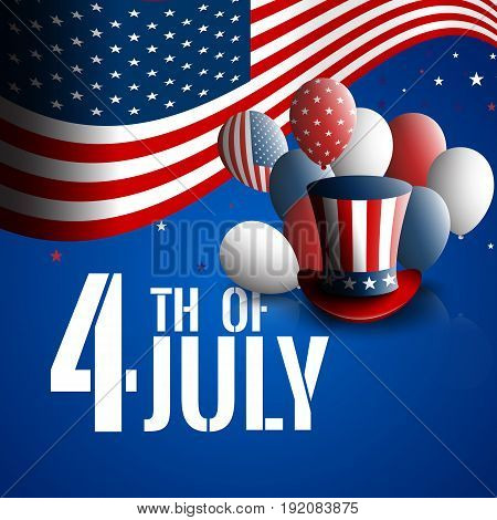 Fourth of July. Independence day of the USA. Holiday background with patriotic american signs - president's hat, balloons, stars and stripes. Stock vector