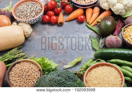 Different vegetables and grains, copy space for text, selective focus