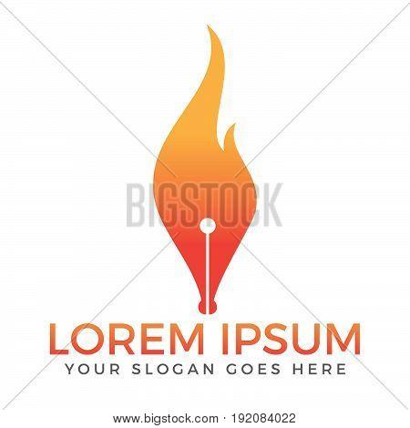 Fountain pen and fire vector logo design.