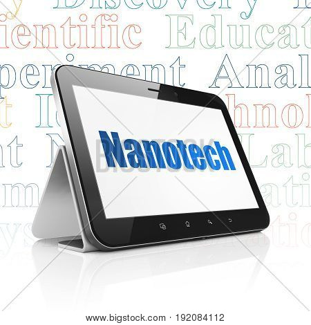 Science concept: Tablet Computer with  blue text Nanotech on display,  Tag Cloud background, 3D rendering