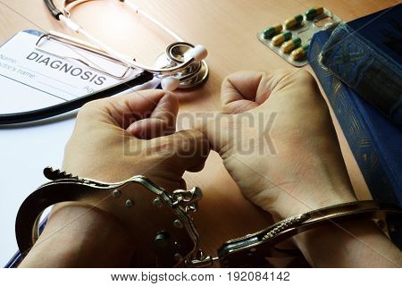A Doctor in handcuffs. Medical negligence concept.